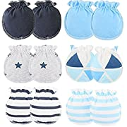 Adeimoo Baby Cotton Gloves Autumn Newborn Infant Toddler No Scratch Mittens for 0-3 months (6 pair A)