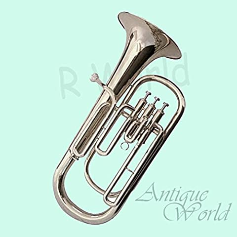 Antiques World Silver Nickel Plated Baritone Marching Tuba Horn With Case AWUSAMI 0115 - Bb Tuba