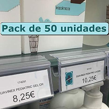 Kit 50 Portaprecios para balda de cristal. Etiqueta de ...