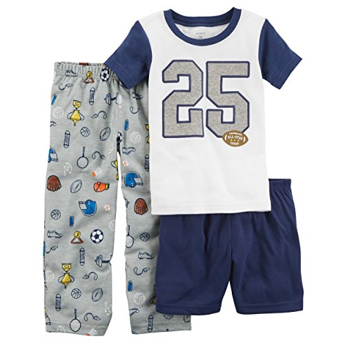 Carter's Boys' 2T-20 3-Pc. Football Jersey Pajama Set,White/Navy,7 -