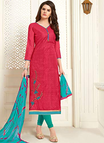Maple Fashions Entrancing Embroidered Cotton Rose Pink Churidar Designer Suit