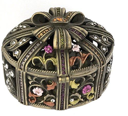 Box Treasure Enameled (Ribbon Gift Box Jewelry Trinket Box Luxury Enameled Pewter Bejeweled Swarovski Crystals Hinged Metal Collectible Keepsake Treasure Box)