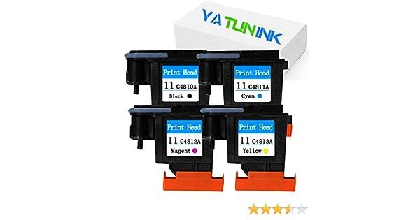 yatunink 4 unidades (1BK + 1 m + 1 C + 1Y) 11 – Cabezal de repuesto para impresora HP 11 Cabezal de impresión trabajo con HP DesignJet 510 1067 mm Impresora (