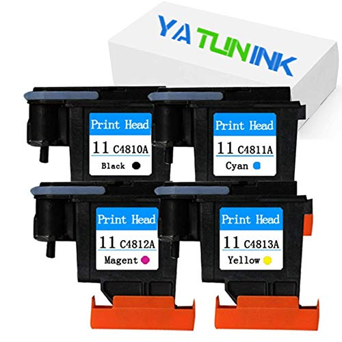 YATUNINK Remanufactured Printer Head Replacement for HP 11 Printhead 11 Printer Head Black Cyan Magenta Yellow for Designjet 510 Designjet 1067 Designjet 510 Designjet 610 Printer (4 Pack)