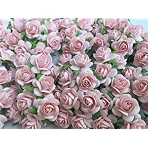 100 Pcs Hight Quality Pink Color Mulberry Paper Flowers of Wedding Roses : 15mm. By Thai Decorated' 1