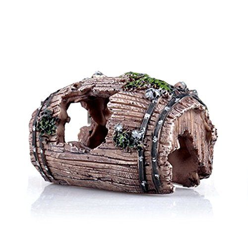 Gosear Fondos Marinos Rotos Barril Cueva de Resina para Acuario Pecera Accesorios de Adorno de Decoración de Jardinería