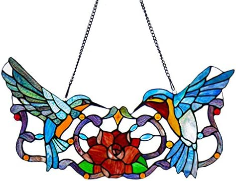 River of Goods 12 H Stained Glass Hummingbird Floral Window Panel