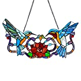 12'' H Stained Glass Hummingbird Floral Window Panel