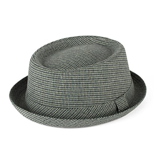 Men's Ladies Pork Pie Hat Houndstooth/Dogtooth With Light Grey Band - Light Grey (59/L)