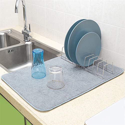 SANNO 23x15 Inch Microfiber Dish Drying Mat with Lid Organizer Plate Rack, Kitchen Counter-top Dry Pad for Dishes Flatware, Dinnerware, Glassware, Drinkware, Serveware Plate, Tabletop Accessories,Gray