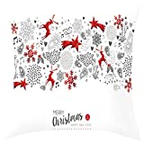 Dermanony Christmas Decorative Elk Santa Claus Print Pillow Case Square Cushion Cover for Sofa, Couch, Bed and Car