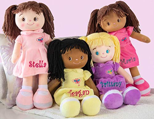 Personalized Dibsies Butterfly Snuggle Doll - 15 Inch (Brunette - Brown Eyes)