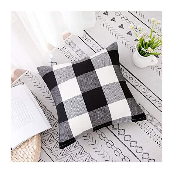 Vanky Set of 2 Buffalo Check Plaid Pillows Farmhouse Decor Christmas Pillow Covers Fall Outdoor Pillows Outside Porch Pillows Cotton Linen Throw Pillow Covers Black White 18 x 18 Inches - SIZE:18 x 18 Inch / 45 x 45cm.Square throw pillow covers Suitable for sofa, front porch,bed,living room,home,office,car seat,outdoor. MATERIAL:Grade A Cotton Linen,Classic Retro Plaids,This linen fabric can easily match with all styles of furniture.These cushion covers are also great gifts for each holiday,Like Halloween Thanksgiving Day, Christmas Day. Package includeds 2 pcs pillow covers without pillow inserts. - patio, outdoor-throw-pillows, outdoor-decor - 51cdxoO63EL. SS570  -