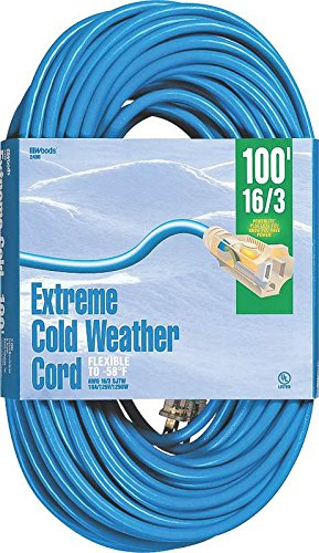 Woods 2436 16/3 Outdoor Cold-Flexible SJTW Extension Cord, Blue with Lighted End, 100-Foot