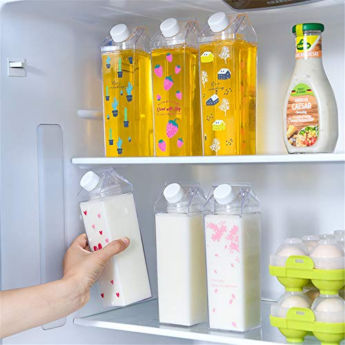 Carton Water Bottle Clear Transparent Drinking Cup Reusable Creative Eco Leakproof Bottles + 2 Silicone Straw (A - Clear 1)