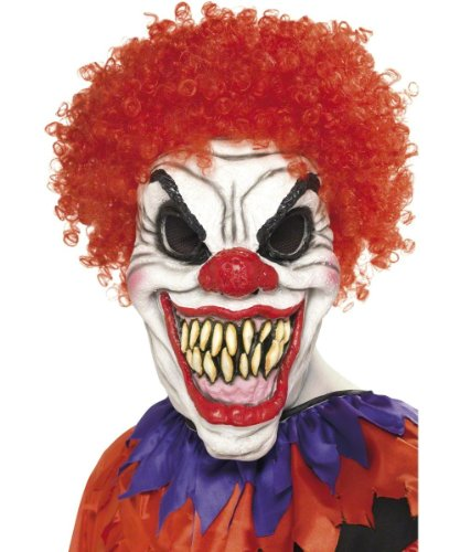 Smiffy's Men's Scary Clown Mask Foam Latex with Hair On Display Card, Multi, One Size