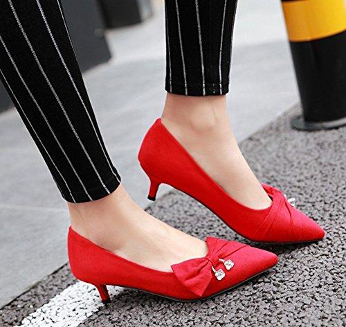 Aisun Womens Elegante Strass Punta A Punta Abito Tacchi A Spillo A Stiletto Gonnellino Slip On Pumps Scarpe Con Fiocchi Rossi