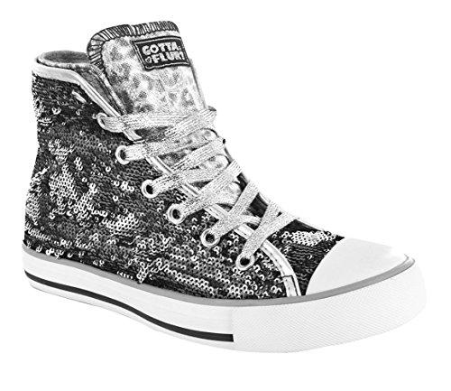 Gotta Flurt CONVERTIBLE AURORA High Top Sneaker, Size 8, black/Silver