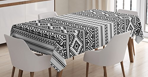 Ethnic Tablecloth by Ambesonne, Oriental Tribal Moroccan Round Style Lines Dots Geometric Shapes Artwork Image, Dining Room Kitchen Rectangular Table Cover, 60 W X 84 L Inches, Black and - Tribal Round