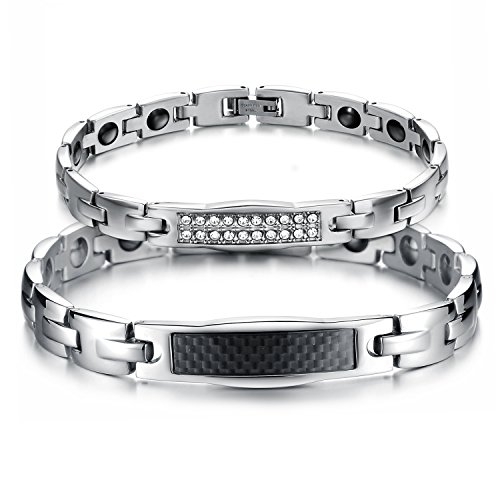 Fate Love His & Her Couple Matching Set Health Care Titanium Magnetic Energy Bangle Bracelets,Romantic Gift for Lover by Fate Love