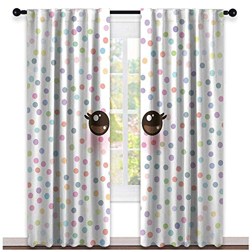 Eyelash, Curtains Insulated Thermal, Kawaii Funny Muzzle with Pink Cheeks and Cute Eyes on Colorful Polka Dots Backdrop, Curtains for Bathroom, W84 x L108 Inch Multicolor