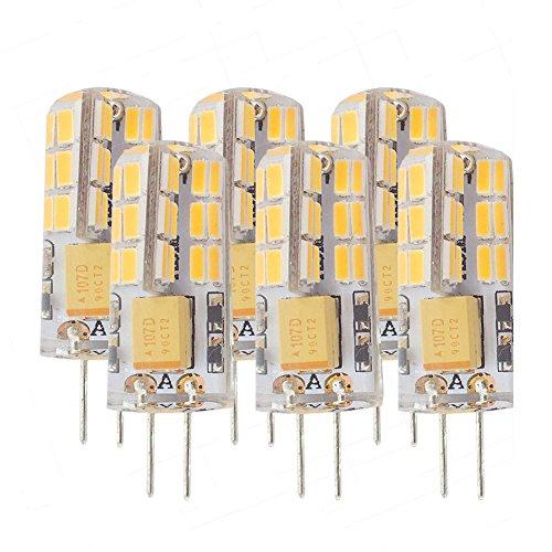 (Ashialight LED G4 Bulb Soft White 3000K Low Voltage Landscape Light Bulbs Equal 20 Watt 12 Volt G4 Bi-pin Base JC Type G4 Clear Halogen Bulb (Non-dimmable) 6pcs/Pack)