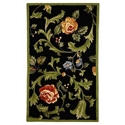 - Safavieh Chelsea Collection HK310B Hand-Hooked Black Premium Wool Area Rug (2'6