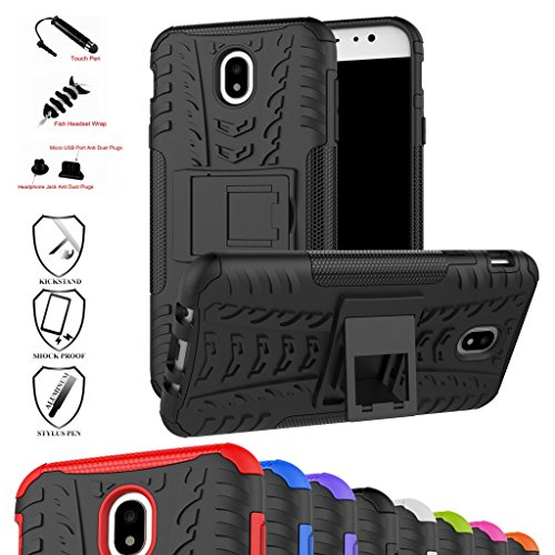 Galaxy J7 Pro J730G Case,Mama Mouth Shockproof Heavy Duty Combo Hybrid Rugged Dual Layer Grip Cover with Kickstand for Samsung Galaxy J7 Pro J730G 2017(with 4 in 1 Packaged),Black