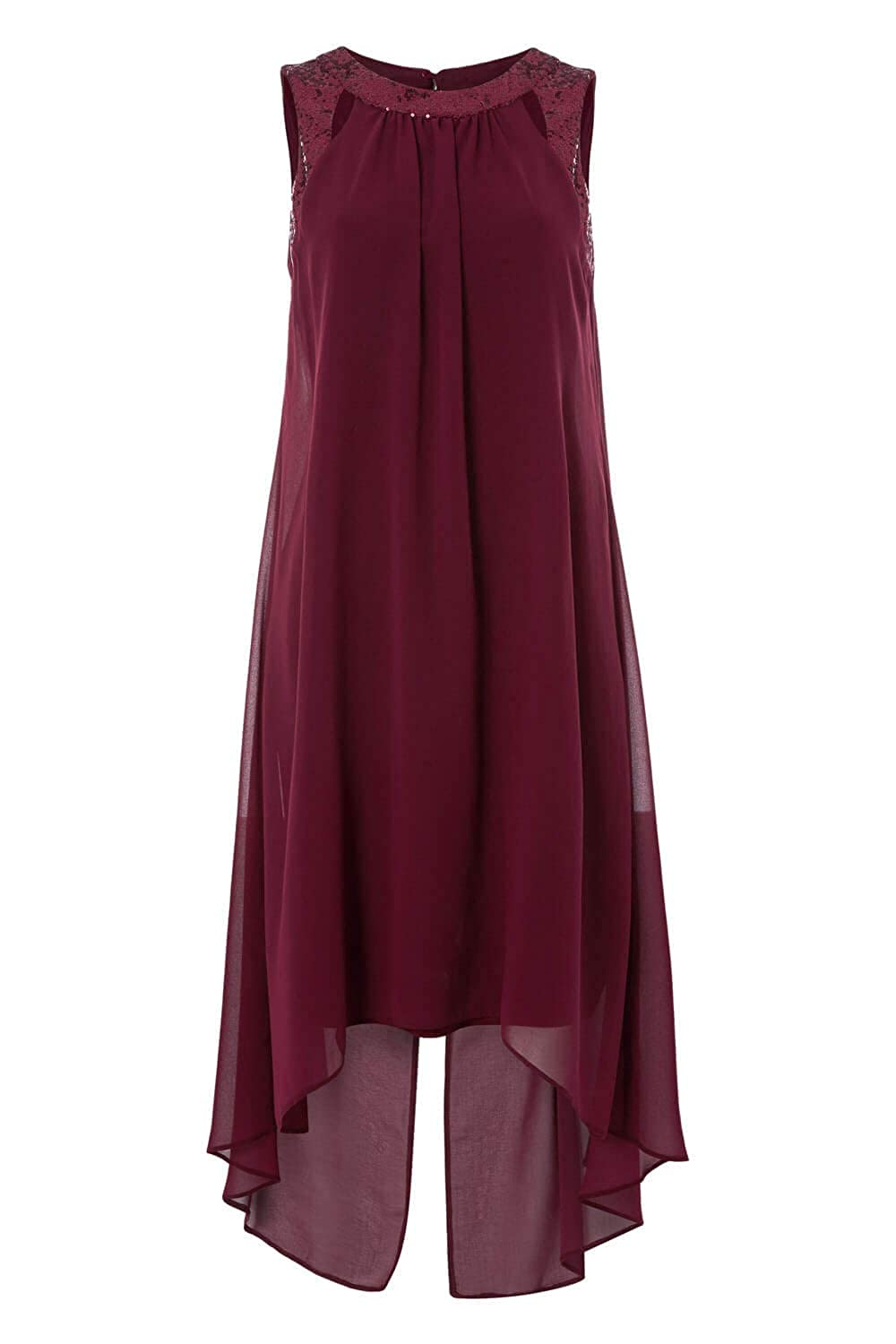 Roman Originals Women Cut Out Sequin Neck Floaty Dress Ladies A-Line Chiffon Embellished Sleeveless Party Wedding Guest Smart New Year Ascot Knee Length Shift Chic Dresses