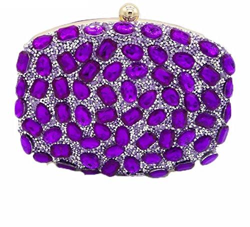 Nuevos Señoras Bolsos Señoras Diamantes Bolsos Color Rhinestones Perforación Caliente Bolsos De Tarde Mini Banquete Bolsos Purple