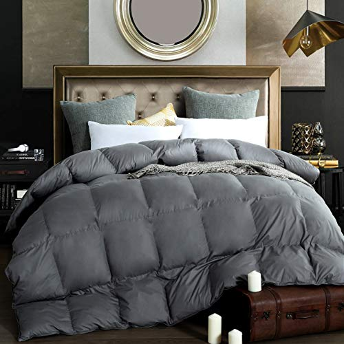 Alanzimo Goose Down Comforter Queen Size – All Season – Luxury 100% Cotton Hypoallergenic 1200 Thread Count 750 Fill Power with Tabs Gray