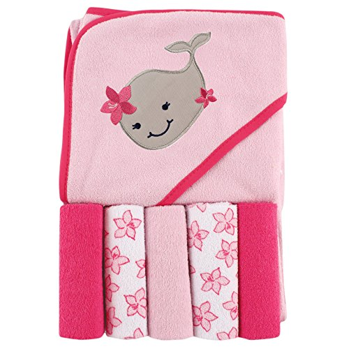 Friends Bath Towel (Luvable Friends Hooded Towel and 5 Washcloths, Whale)