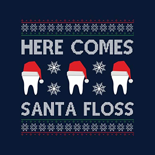Floss Pattern Here Women's Santa Teeth Sweatshirt Comes Knit Navy Christmas Blue UxTwRq