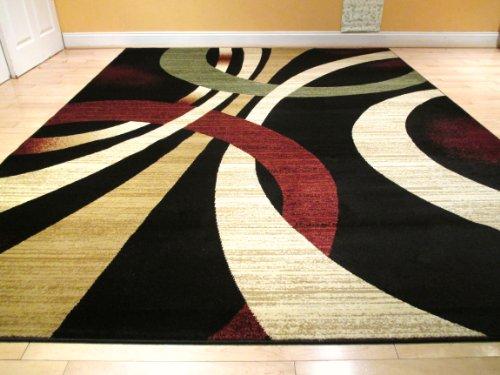 Black Modern Rug 8x Rug Contemporary Style Wavy Circles Area Rug 8x Black Brown Green Burgundy and Beige Carpet Area Rugs Living Room Carpet Floor