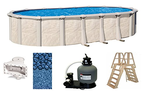 Wilbar Fallston 18 Foot x 33 Foot x 52 Inch Oval Above-Ground Complete Swimming Pool Kit-Bundle Includes Liner Skimmer Ladder Pump and Filter