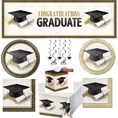Gown Napkins - Classic Graduation Black White & Gold Disposable Paper Party Supplies Serves 16: Dinner + Lunch Plates + Lunch + Beverage Napkins + Table Cover + Banner + Dizzy Danglers + Card Box