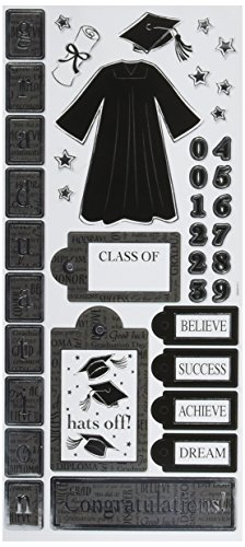 Sandylion Graduation Icons Paper with Foil Sticker, 5.5-Inch by 12-Inch Foil Icon