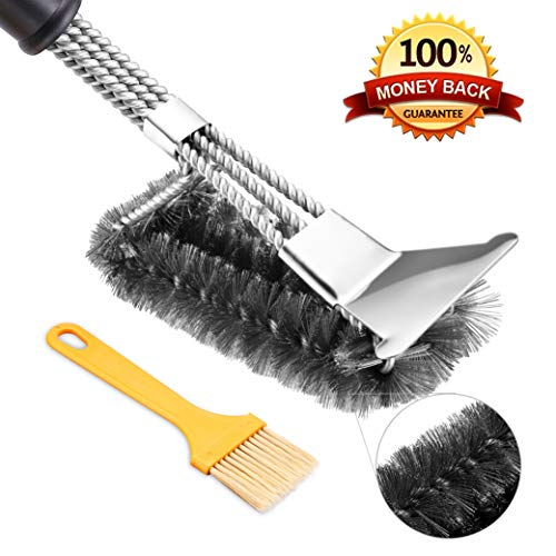 Grill Brush BBQ Brush with Scraper. Stainless Steel Brush Best 3in1Stainless Steel Wire Bristles and Stiff Handle. Safe for All Grills. Durable & Effective.
