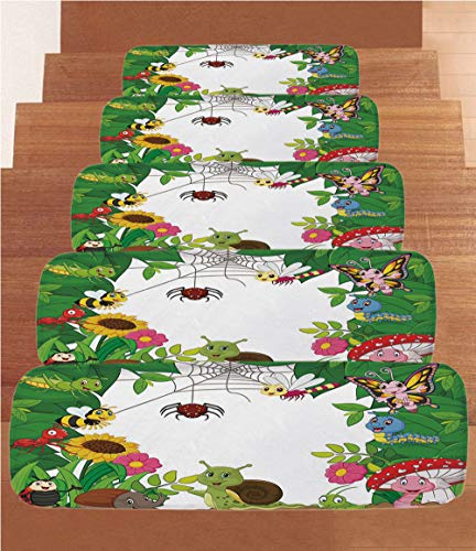 - iPrint Coral Fleece Stair Treads,Nursery,Happy Little Butterflies Bugs Insects Comic Caterpillars Dragonflies Spider Web,Multicolor,(Set of 5) 8.6