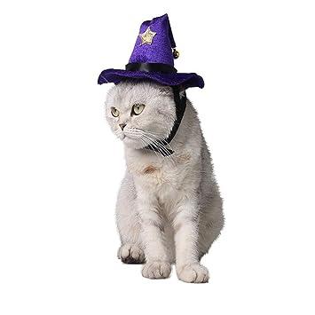 Iudrfgsd Mascota de Halloween Disfraz de Sombrero Mágico Sombrero Accesorios de Cosplay para Gatos/Gatito / Perros Pequeños (Color : Purple, ...