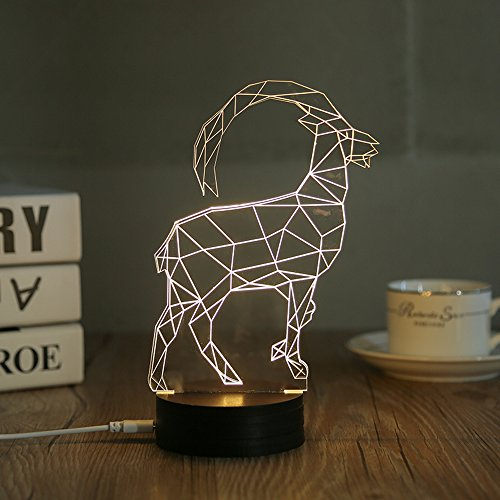 3D LED Night Light Desk Table Lamp Home Decoration Animal Goat Sheep (DL-GT) (Stone 3 Contemporary)