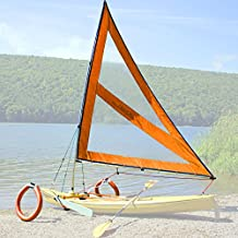 Serenity Upwind Kayak Sail and Canoe Sail Kit (Orange). Complete with Telescoping Mast, Boom, Outriggers, Lee Boards, All Rigging Included! Compact, Portable, Easy to Set up - Start Sailing This Season!