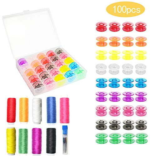 100 Pieces Plastic Sewing Bobbins Multicolor Sewing Machine Bobbins Sewing Thread Bobbins for Brother Singer Babylock Janome Kenmore (Multicolor)