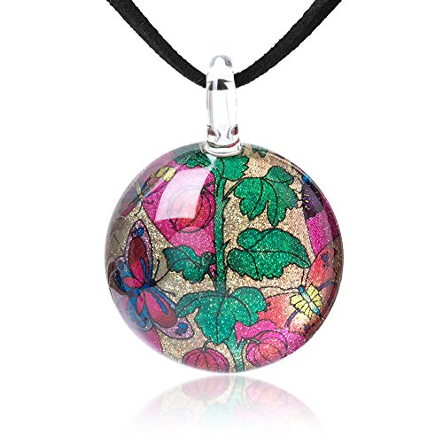 (Chuvora Hand Blown Glass Jewelry Butterflies & Flower Vintage Round Pendant Necklace, 17-19 Inches)