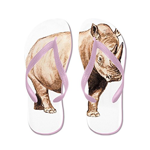 Cafepress Rhino Rhinoceros Animal - Tongs, Sandales Rigolotes, Sandales De Plage Rose