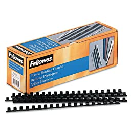 Fellowes Plastic Comb Binding Spines, 3/8 Inch Diameter, Black, 55 Sheets, 100 Pack (52325)