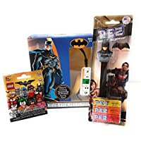 Batman Kids Safe Headphones by DC Comics with The Batman Movie Lego Mini-Figures and Batman PEZ with Three Candy Packs