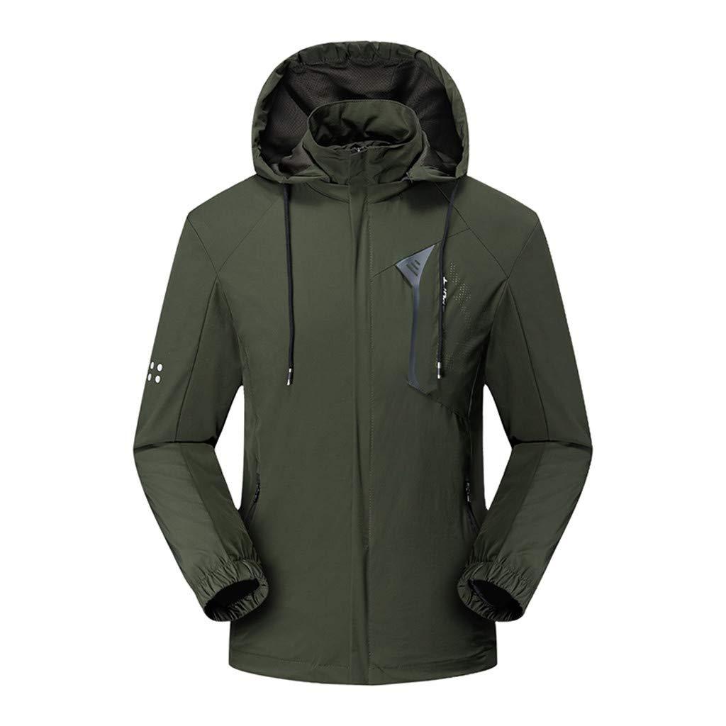Hooded Jacket for Men Long Sleeve Splice Water Resistant Windbreaker Outdoor Sportswear (XL, Green2) by Suoxo Men Tops