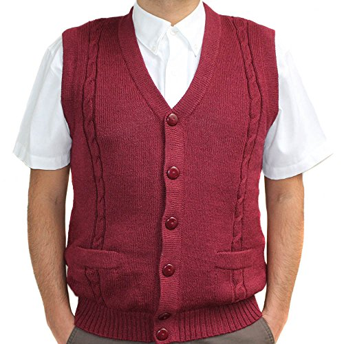 CELITAS DESIGN Alpaca Vest Golf Sweater Jersey BRIAD Burgundy V Neck Buttons and Pockets Made in Peru L