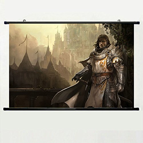 Wall Scroll Poster with Guild Wars Castle Fog Knight Warrior Sword Armor Game Weapon Cloak Railing Bridge Stairs Home Decor Wall Posters Fabric Painting 23.6 X 15.7 Inch